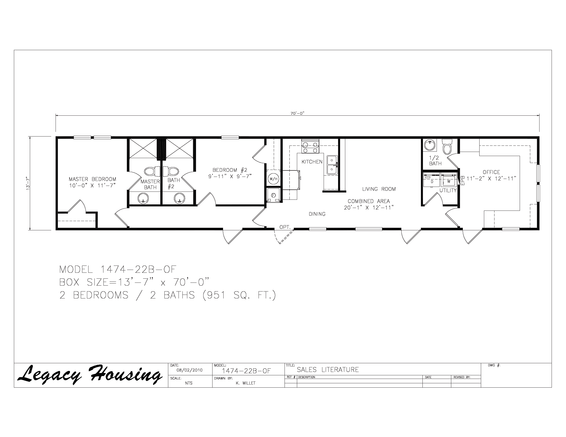 14x74 Oilfield Housing - 2 Bedroom